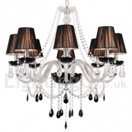 8 Light Contemporary Black Brushed Dining Room Bedroom Living Room K9 Crystal Candle Style Chandelier
