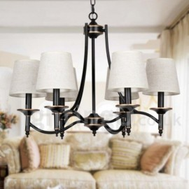 6 Light Living Room Bedroom Dining Room Study Room/Office Rustic Retro Black Contemporary Candle Style Chandelier