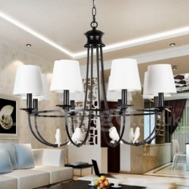 8 Light Retro Black Mediterranean Style, Living Room Dining Room Rustic Contemporary Candle Style Chandelier