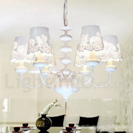 6 Light Modern / Contemporary Hollow White Living Room Dining Room Bedroom Candle Style Chandelier