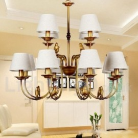 12 Light Modern / Contemporary Rustic Living Room Retro Candle Style Chandelier