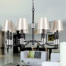 8 Light Black Living Room Dining Room Retro Contemporary LED Candle Style Chandelier