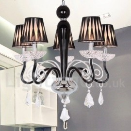 5 Light White Contemporary Dining Room Bedroom Living Room K9 Crystal Candle Style Chandelier