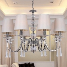 8 Light Contemporary Dining Room Bedroom Living Room K9 Crystal Candle Style Chandelier