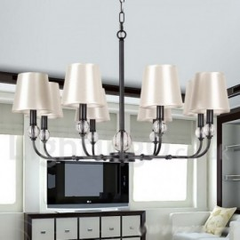 8 Light Rustic Living Room Dining Room Bedroom Retro Black Contemporary Candle Style Chandelier