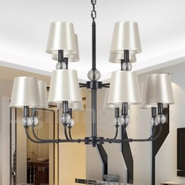12 Light Living Room Dining Room Bedroom Retro 2 Tier Large Black Contemporary Candle Style Chandelier