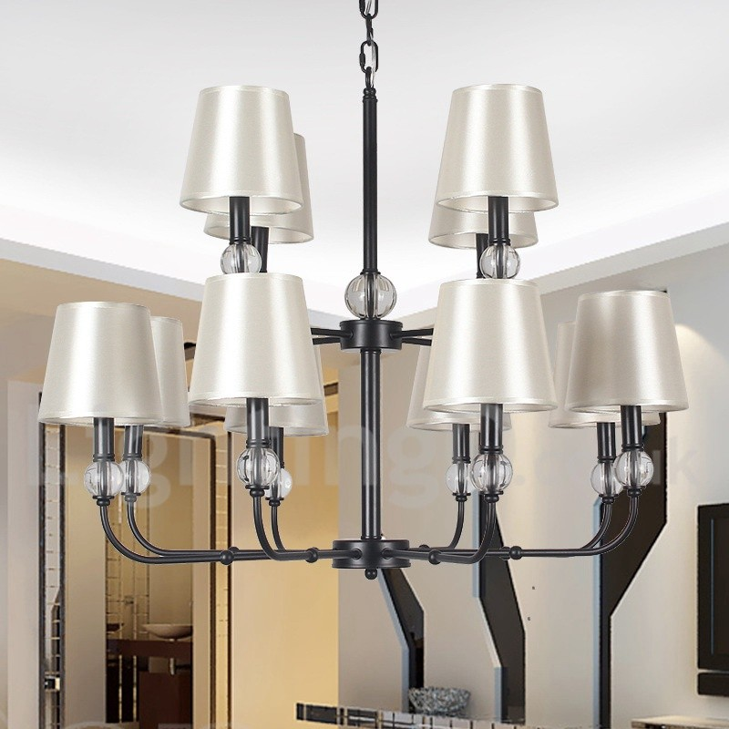 12 Light Rustic Retro Black Hotel 2 Tier Large Chandelier Candle Style
