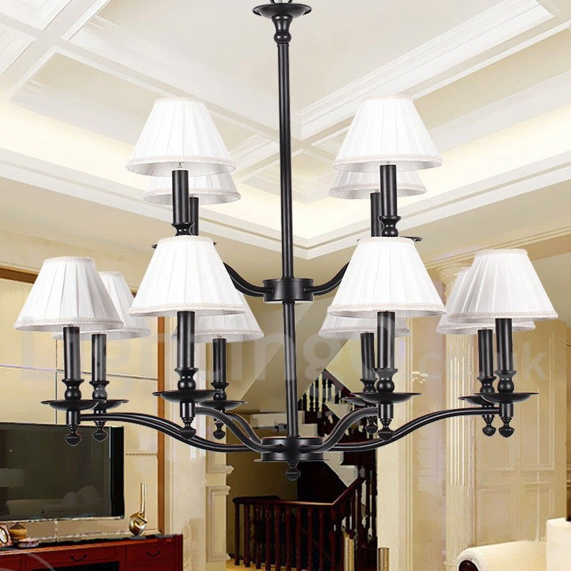 12 Light Retro Living Room 2 Tier Large Chandelier Candle Style Chandelier