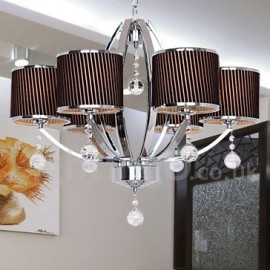 6 Light Contemporary Dining Room Bedroom Living Room K9 Crystal Candle Style Chandelier