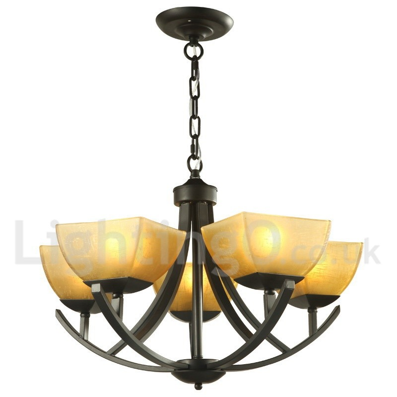 5 light mediterranean style black living room dining room for Dining room 5 light chandelier