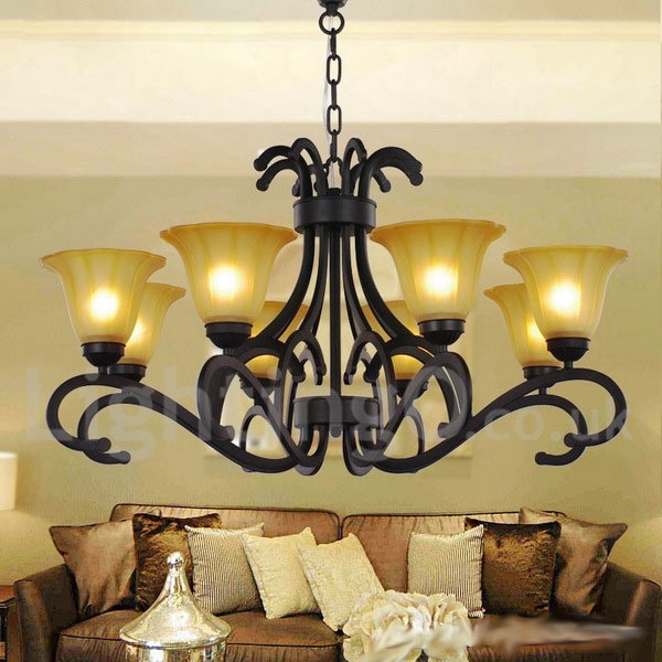 8 light black contemporary living room dining room candle style chandelier - Contemporary dining room chandeliers styles ...