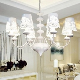 8 Light Modern / Contemporary Hollow White Living Room Dining Room Bedroom Candle Style Chandelier