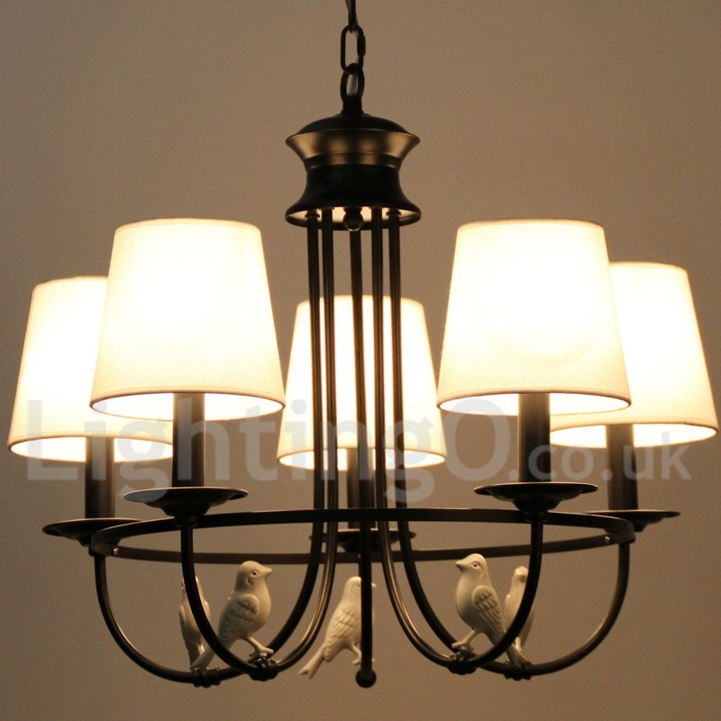 Rustic Chandeliers For Dining Room: 5 Light Retro Black Mediterranean Style, Living Room