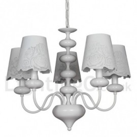 5 Light Modern / Contemporary Hollow White Living Room Dining Room Bedroom Candle Style Chandelier