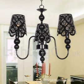 3 Light Modern / Contemporary Hollow Black Living Room Dining Room Bedroom Candle Style Chandelier