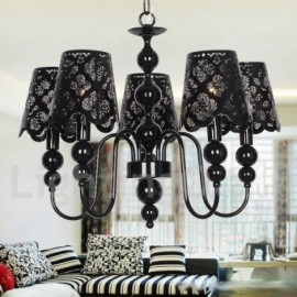 5 Light Modern / Contemporary Hollow Black Living Room Dining Room Bedroom Candle Style Chandelier