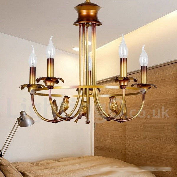 5 light retro living room dining room bedroom candle style for Dining room 5 light chandelier