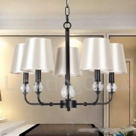 5 Light Rustic Living Room Dining Room Bedroom Retro Black Contemporary Candle Style Chandelier