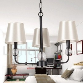 3 Light Living Room Dining Room Bedroom Retro Black Contemporary Candle Style Chandelier