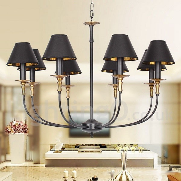 8 Light Living Room Dining Room Bedroom Retro Black