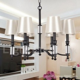 6 Light Black Living Room Bedroom LED Retro Contemporary Candle Style Chandelier