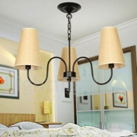 3 Light Retro Mediterranean Style, Living Room Dining Room Bedroom Candle Style Chandelier