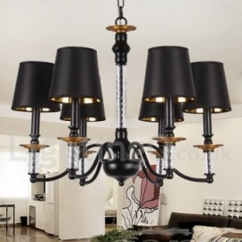 6 Light Black Living Room Bedroom Dining Room Retro Candle Style Chandelier