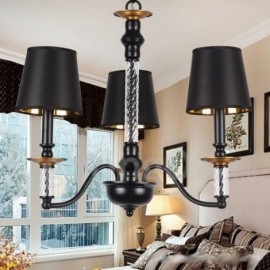 3 Light Black Living Room Bedroom Dining Room Retro Candle Style Chandelier