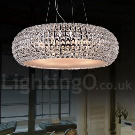 Modern LED K9 Crystal Ceiling Pendant Light Indoor Chandeliers Home Hanging Down Drum Lighting Lamps Fixtures