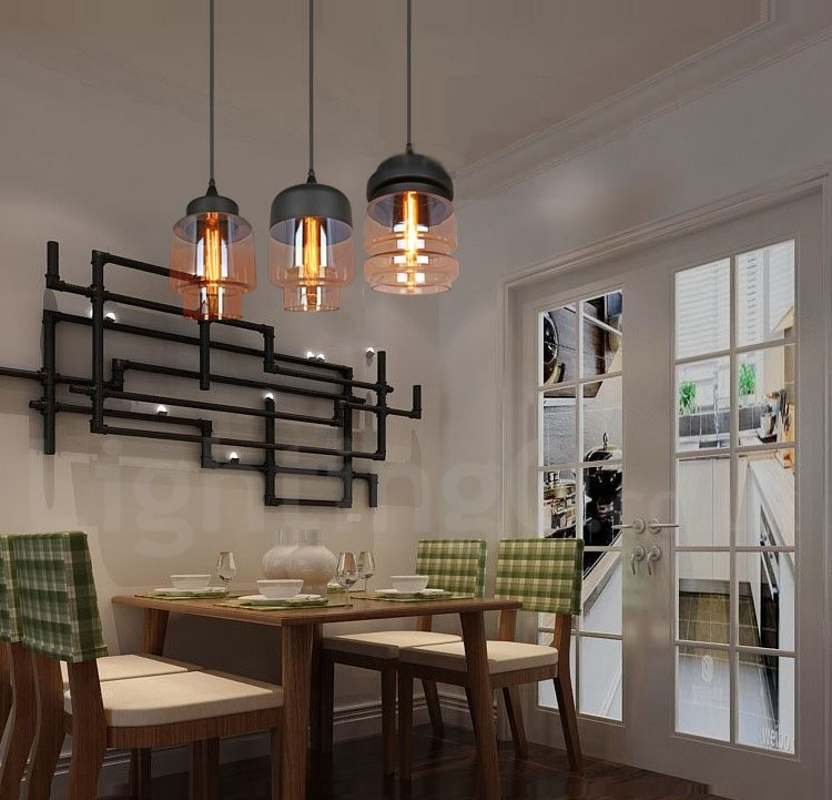 Rustic Glass Pendant Light European Bar Lounge Dining Room