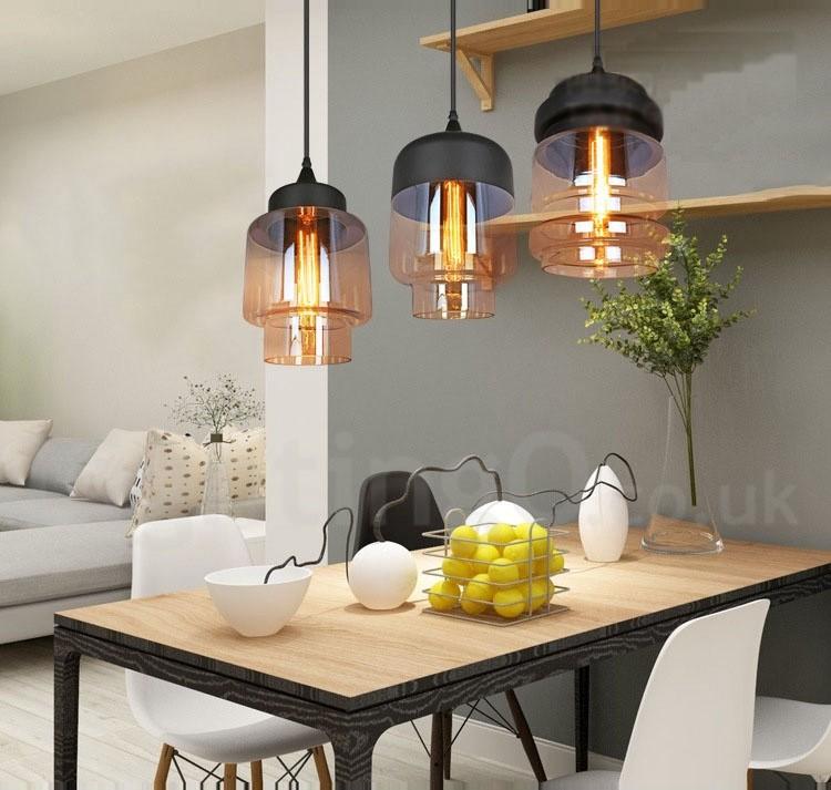 Rustic Glass Pendant Light European Bar Lounge Dining Room