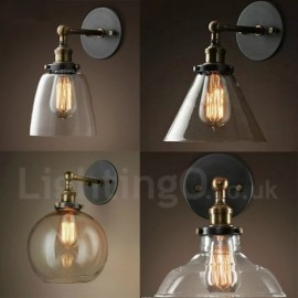 2018 cheap wall sconces for sale uk lightingo lightingo 1 light rusticlodge bedroom wall light with glass shade mozeypictures Image collections