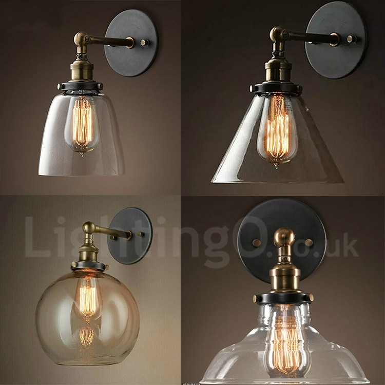 1 light rustic lodge bedroom wall light with glass shade lightingo