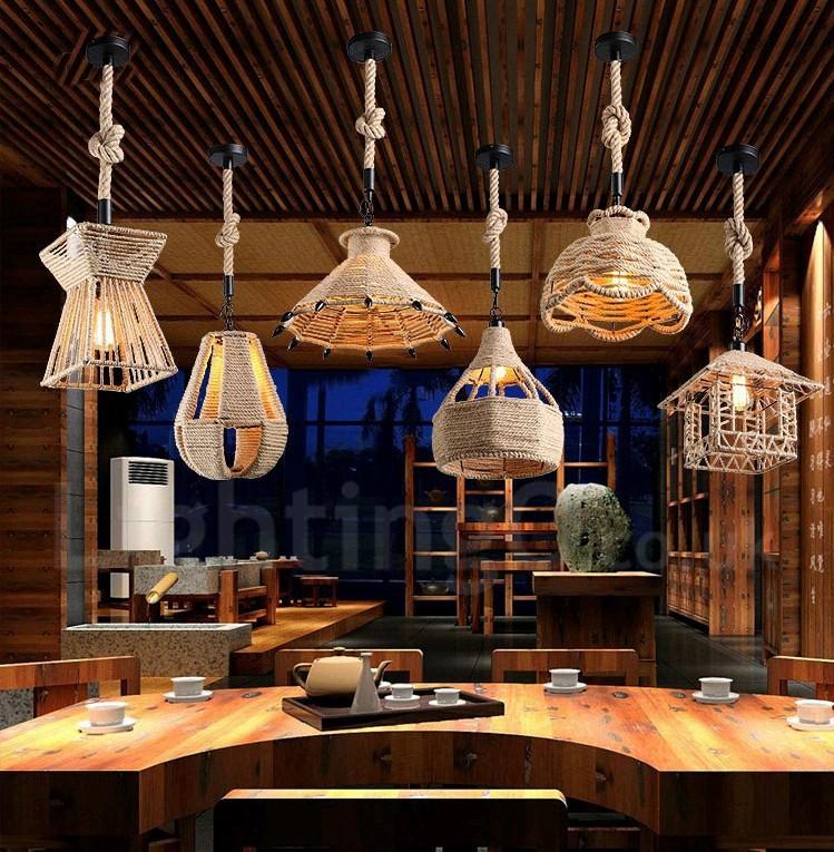 1 Light Rustic/Lodge Pendant Light Cafe Hemp Rope Pendant