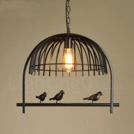 1 Light Rustic/ Lodge, Retro Birdcage Dinning Room Cafes Bar Pendant Light with Steel Shade