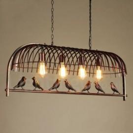 4 Light Rustic/ Lodge, Retro Birdcage Dinning Room Cafes Bar Pendant Light with Steel Shade