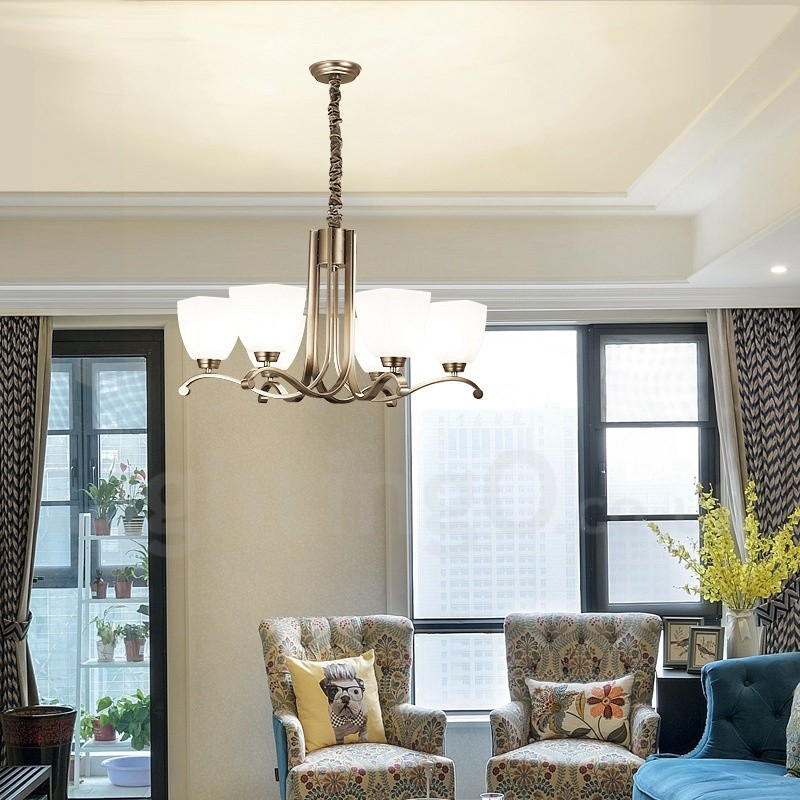 6 light modern contemporary living room dinning room - Modern lamp shades for living room ...