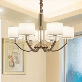 6 Light Modern/ Contemporary Living Room Crystal Dinning Room Bedroom Chandelier with Fabric Shade