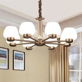 8 Light Modern/ Contemporary Living Room Dinning Room Bedroom Chandelier with Glass Shade