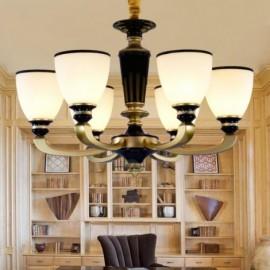 6 Light Retro, Traditional Living Room Zinc alloy Living Room Retro Living Room Chandelier with Glass Shade