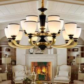 15 Light Retro, Traditional Living Room Zinc alloy Living Room Retro Living Room Chandelier with Glass Shade