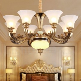 8 Light Retro, Traditional Living Room Luxury Bedroom Hotel Lobby Chandelier with Glass Shade