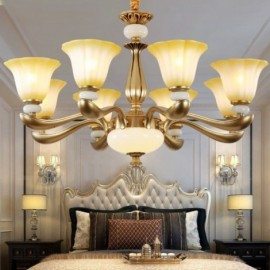 8 Light Retro, Traditional Living Room Living Room Luxury Bedroom Zinc alloy Living Room Chandelier with Glass Shade