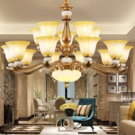 15 Light Retro, Traditional Living Room Living Room Luxury Bedroom Zinc alloy Living Room Chandelier with Glass Shade