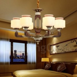 6 Light Retro, Traditional Zinc alloy Luxury Living Room Dinning Room Bedroom Lobby Chandelier with Glass Shade