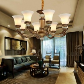 8 Light Retro, Traditional Zinc alloy Luxury Living Room Dinning Room Bedroom Lobby Chandelier with Glass Shade