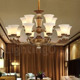 15 Light Retro, Traditional Zinc alloy Luxury Living Room Dinning Room Bedroom Lobby Chandelier with Glass Shade