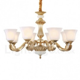 8 Light Retro, Traditional Rustic Living Room Chandelier with Glass Shade