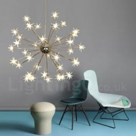 32 Light Modern/ Contemporary Steel Pendant Light with Glass Shade