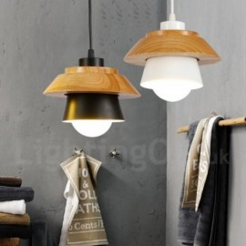 1 Light Modern/ Contemporary Wood Pendant Light with Aluminum alloy Shade